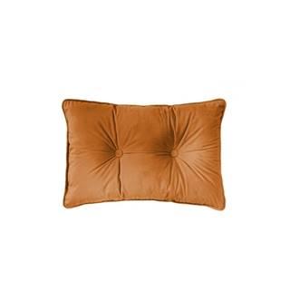 Oranžový vankúš Tiseco Home Studio Velvet Button, 40 x 60 cm