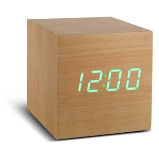 Béžový budík so zeleným LED displejom Gingko Cube Click Clock