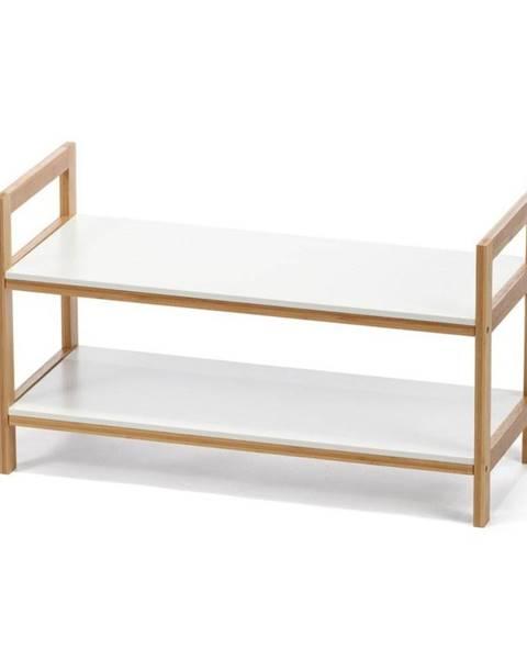 loomi.design Biely dvojposchodová skrinka na topánky s bambusovou konštrukciou loomi.design Lora