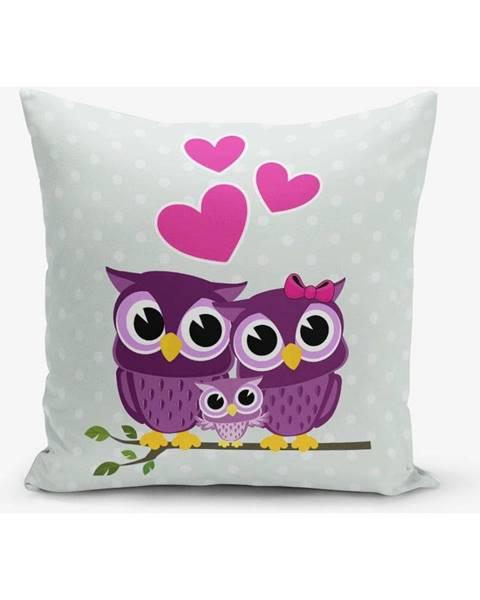 Minimalist Cushion Covers Obliečka na vaknúš s prímesou bavlny Minimalist Cushion Covers Hearts Owls, 45×45 cm