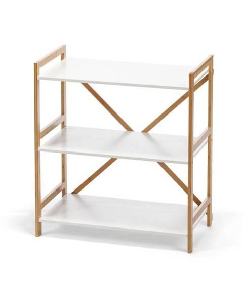 loomi.design Trojposchodový regál v bielej farbe s bambusovou konštrukciou loomi.design Lora