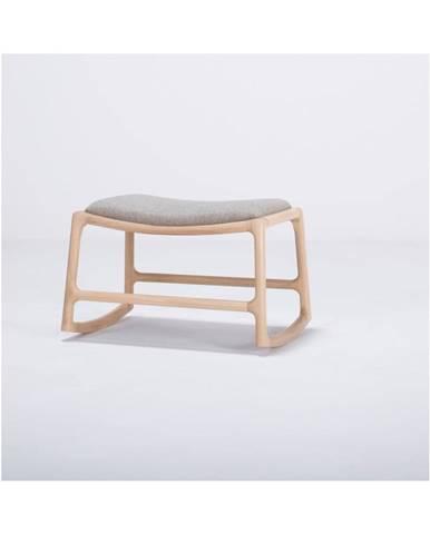 Podnožka s konštrukciou z dubového dreva s modrosivým textilným sedadlom Gazzda Dedo