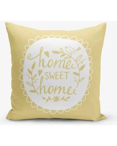 Žltá obliečka na vankúš Minimalist Cushion Covers Home Sweet Home, 45×45 cm