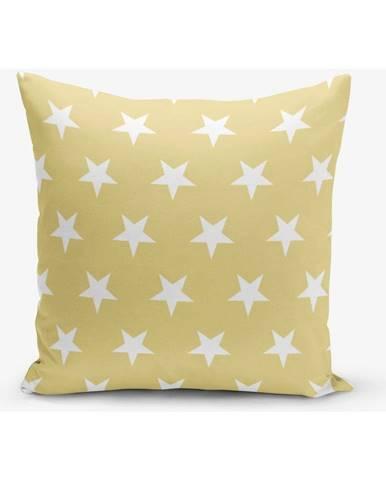 Žltá obliečka na vankúš s motívom hviezdd Minimalist Cushion Covers, 45×45 cm