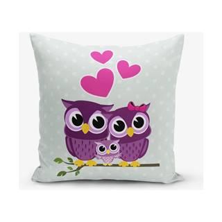 Obliečka na vaknúš s prímesou bavlny Minimalist Cushion Covers Hearts Owls, 45×45 cm