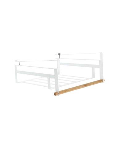 Biela polička na zavesenie do šatníkovej skrine na oblečenie Compactor Under Shelf Basket Rail