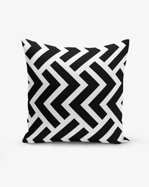 Minimalist Cushion Covers Čierno-biela obliečka na vankúš s bavlnou Minimalist Cushion Covers Black White Geometric Duro, 45×45 cm
