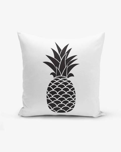 Minimalist Cushion Covers Čierno-biela obliečka na vankúš s bavlnou Minimalist Cushion Covers Black White Pineapple, 45×45 cm
