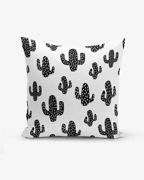 Minimalist Cushion Covers Čierno-biela obliečka na vankúš s prímesou bavlny Minimalist Cushion Covers Black White Cactus, 45×45 cm