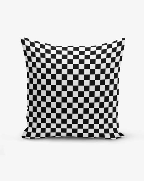 Minimalist Cushion Covers Čierno-biela obliečka na vankúš s prímesou bavlny Minimalist Cushion Covers Black White Ekose, 45×45 cm