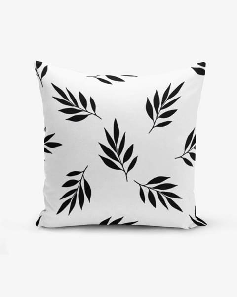 Minimalist Cushion Covers Čierno-biela obliečka na vankúš s prímesou bavlny Minimalist Cushion Covers Black White Leaf, 45×45 cm