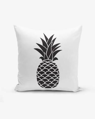 Čierno-biela obliečka na vankúš s bavlnou Minimalist Cushion Covers Black White Pineapple, 45×45 cm