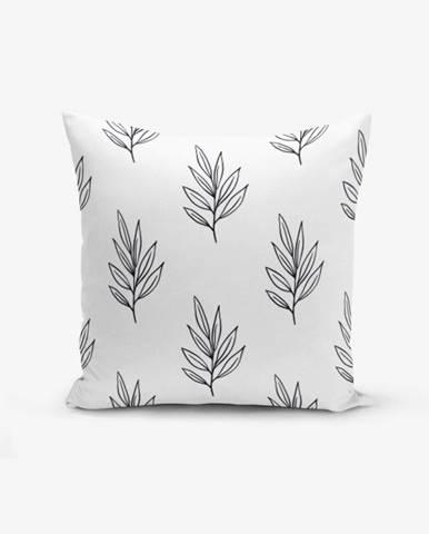 Obliečka na vankúš s prímesou bavlny Minimalist Cushion Covers White Leaf, 45×45 cm