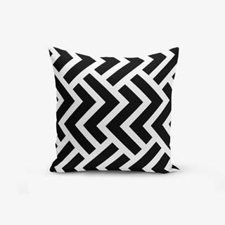 Čierno-biela obliečka na vankúš s bavlnou Minimalist Cushion Covers Black White Geometric Duro, 45×45 cm