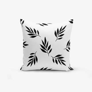 Čierno-biela obliečka na vankúš s prímesou bavlny Minimalist Cushion Covers Black White Leaf, 45×45 cm