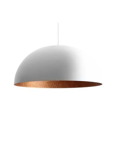 Biele závesné svietidlo s detailom v medenej farbe Custom Form Lord, ø 90 cm