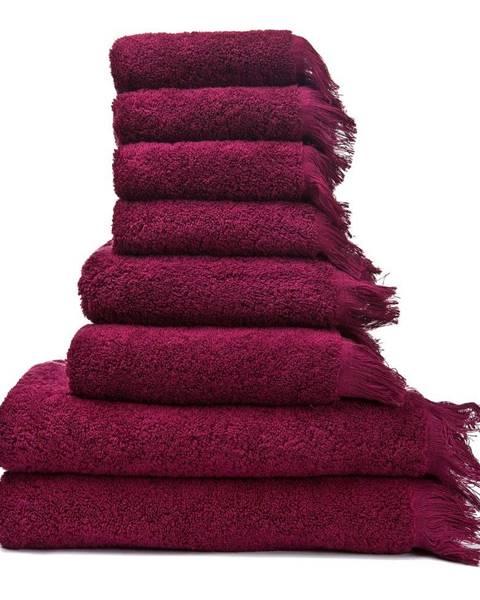 Bonami Sada 6 červených uterákov a 2 osušiek zo 100 % bavlny Bonami
