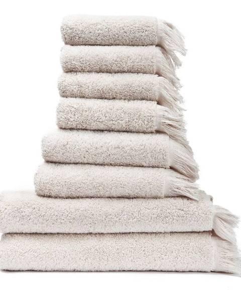 Bonami Súprava 6 krémovobielych uterákov a 2 osušiek zo 100% bavlny Bonami