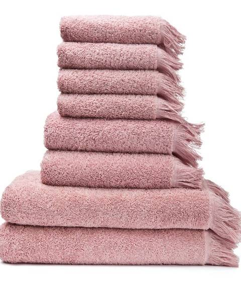 Bonami Sada 6 ružových uterákov a 2 osušiek zo 100 % bavlny Bonami