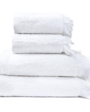 Sada 2 bielych uterákov a 2 osušiek zo 100% bavlny Bonami, 50 × 90 + 70 × 140 cm