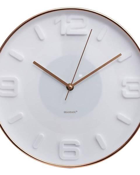 Brandani Biele nástenné hodiny Brandani Rose Gold