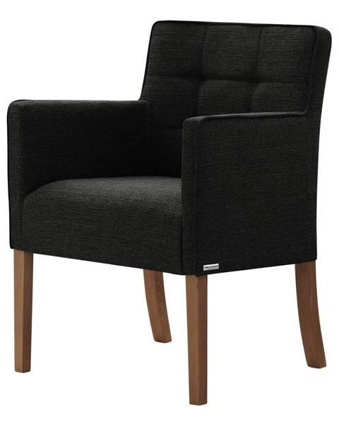 Ted Lapidus Maison Čierna stolička s tmavohnedými nohami Ted Lapidus Maison Freesia