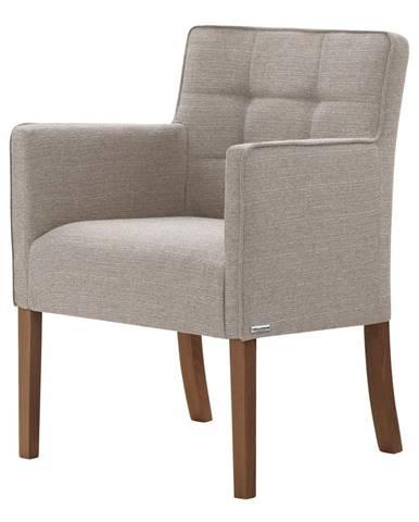 Sivo-hnedá stolička s tmavohnedými nohami Ted Lapidus Maison Freesia