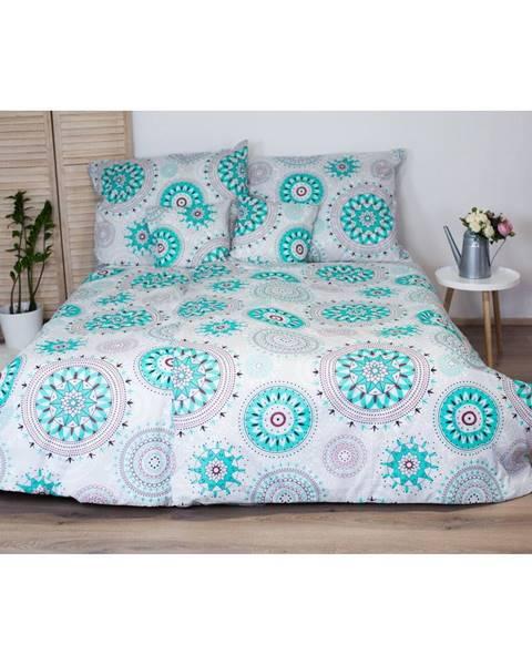 Cotton House Bavlnené obliečky na jednolôžko s tyrkysovomodrým dekorom Cotton HoMandala, 140x200 cm