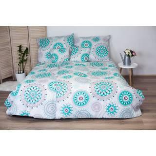 Bavlnené obliečky na jednolôžko s tyrkysovomodrým dekorom Cotton HoMandala, 140x200 cm