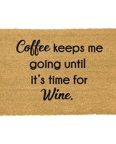Rohožka z prírodného kokosového vlákna Artsy Doormats Coffee Keeps Me Going, 40 x 60 cm