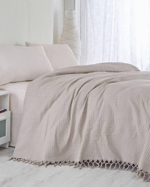 Şaheser Hnedý bavlnený ľahký pléd na posteľ Brown, 220×240cm