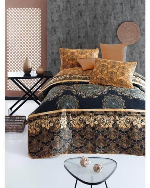 Eponj Home Set prešívaného prehozu a 2 obliečok na vankúše Eponj Home Şehri-Ala Gold, 200 x 220 cm