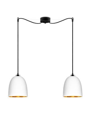 Biele dvojramenné závesné svietidlo s čiernym káblom a detailom v zlatej farbe Sotto Luce Awa Matte