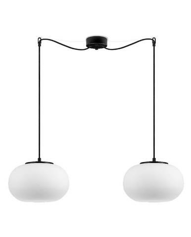 Biele závesné svietidlo s 2 tienidlami a s čiernou objímkou Sotto Luce DOsI