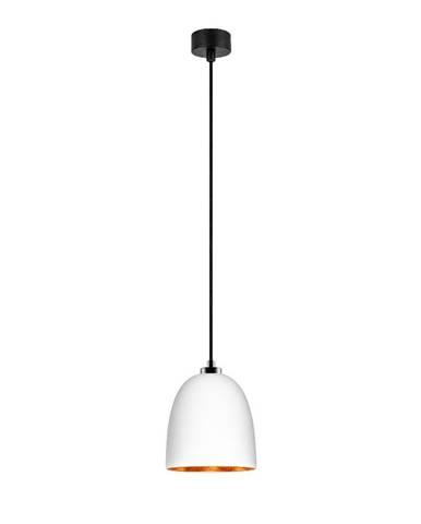 Biele závesné svietidlo s čiernym káblom a detailami v medenej farbe Sotto Luce Awa