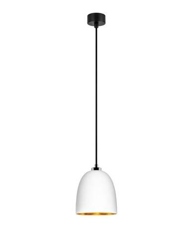 Biele závesné svietidlo s čiernym káblom a detaily v zlatej farbe Sotto Luce Awa