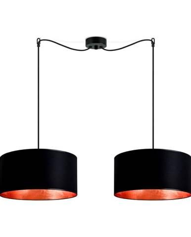 Čierne dvojramenné závesné svietidlo s vnútrom v medenej farbe Sotto Luce Mika