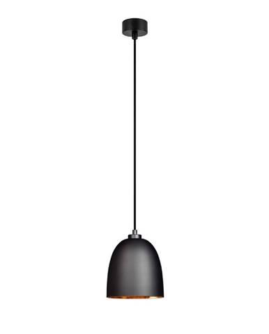 Čierne matné stropné svietidlo s vnútrajškom v medenej farbe Sotto Luce Awa