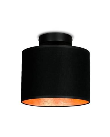 Čierne stropné svietidlo s detailom v medenej farbe Sotto Luce MIKA Elementary XS CP