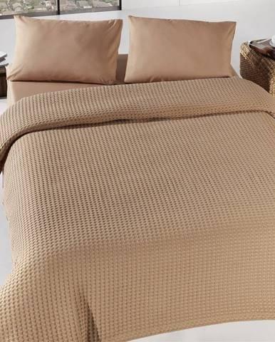Hnedá ľahká prikrývka cez posteľ Burumcuk, 160×240cm