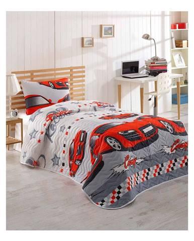 Set prehozu cez posteľ a obliečky na vankúš s prímesou bavlny Eponj Home Crazy Red, 160 x 220 cm