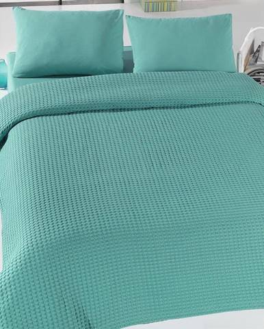 Zelený ľahký bavlnený pléd na posteľ Green Pique, 200x 230cm