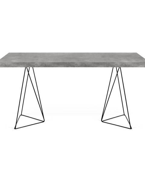 TemaHome Pracovný stôl v dekore betónu s čiernou podnožou TemaHome Multi