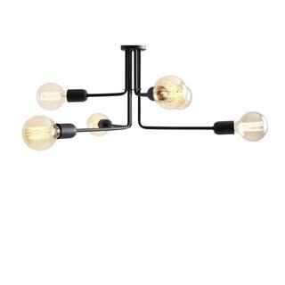 Čierne závesné svietidlo na 6 žiaroviek Custom Form Vanwerk