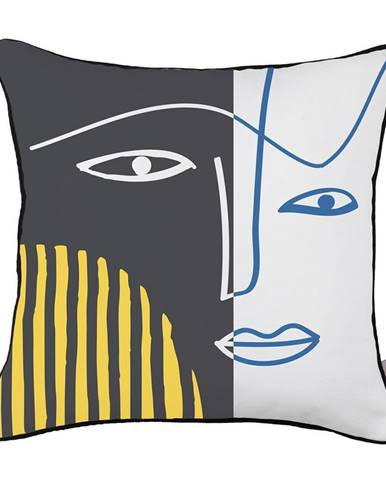 Obliečka na vankúš Mike&Co.NEWYORK Dark Abstract Face, 43 × 43 cm