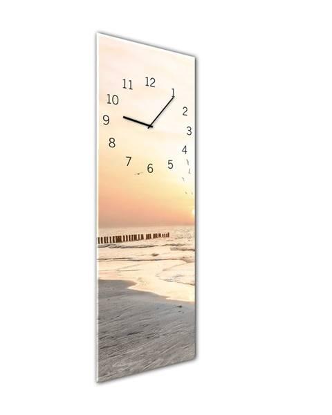 Styler Nástenné hodiny Styler Glassclock Beach, 20×60 cm