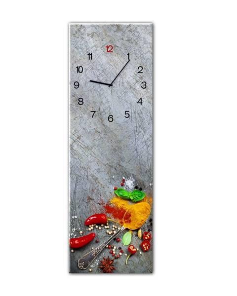 Styler Nástenné hodiny Styler Glassclock Silver Spoon, 20×60 cm
