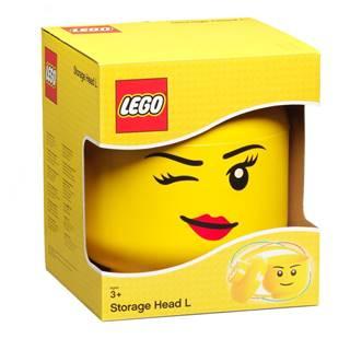 Žltý úložný box v tvare hlavy LEGO® Winky, ⌀ 24,2 cm