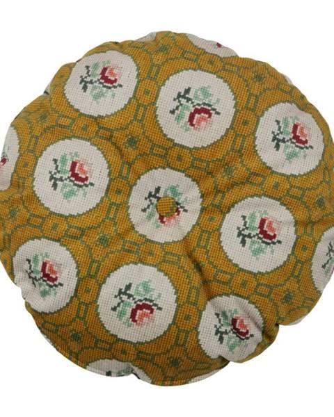BePureHome Okrovožltý dekoratívny guľatý vankúš BePureHome Granny, ø 45 cm