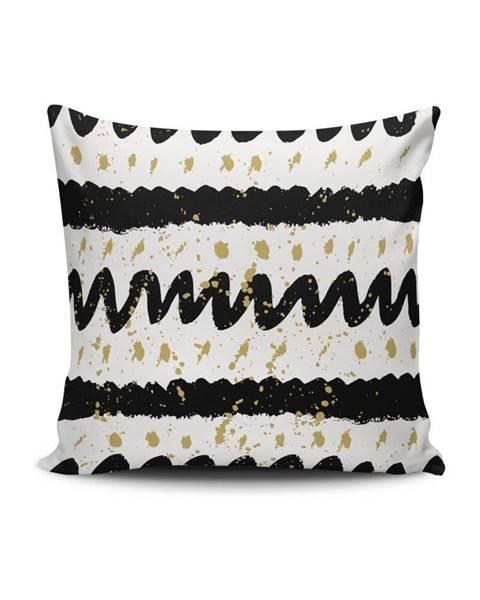 Cushion Love Čierno-biela obliečka na vankúš Calento Ganula, 45×45 cm